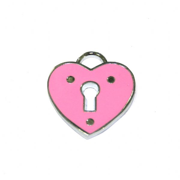 1 x 19*18mm Rhodium pink heart with lock key hole enamel charm - SD03 - CHE1113